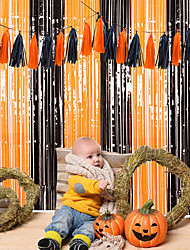 cheap -Halloween Party Toys Halloween Foil Curtains 2 pcs Black and Orange PET Kid's Adults Trick or Treat Halloween Party Favors Supplies
