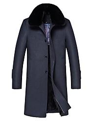 cheap -Men's Solid Colored Basic Fall & Winter Coat Long Daily Long Sleeve Wool Coat Tops Dark Gray