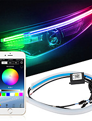 cheap -2pcs Car Sequential Flowing RGB Daytime Running Light DRL APP Multi Color LED Light Strip Turn Signal Lights For Headlight