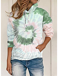 halpa -Naisten Pullover-huppari Painettu Vapaa-aika Hupparit paidat Uima-allas Purppura Viini