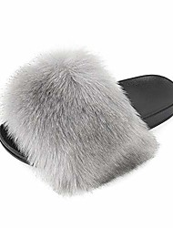 cheap -women& #39;s slides faux fur cute fuzzy slippers comfort flat sandals & #40;8 m us, new grey& #41;