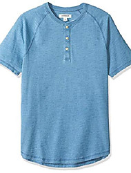 cheap -amazon brand - men& #39;s short-sleeve indigo henley, light wash, x-large