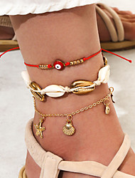 cheap -Leg Chain Rustic Bohemian Trendy Women's Body Jewelry For Gift Holiday Braided Shell Alloy Sun Moon Gold 3pcs / Star