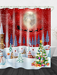 cheap -Christmas Snow White Town Christmas Tree Digital Printing Shower Curtain Shower Curtains & Hooks Modern Polyester Trend Design