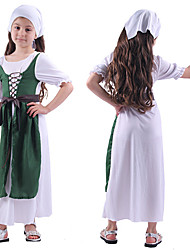 abordables -Tenus de Soubrette Robe Costume de Cosplay Tenue Enfant Fille Cosplay robe de vacances Halloween Halloween Fête / Célébration Polyester Vert Facile Déguisement Carnaval / Casque / Ceinture / Casque