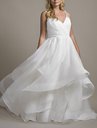 cheap -Ball Gown Wedding Dresses V Neck Chapel Train Organza Sleeveless Romantic Plus Size with Crystals Cascading Ruffles 2021