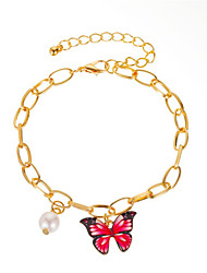 cheap -Women's Pearl Chain Bracelet Classic Butterfly Stylish Simple Trendy Alloy Bracelet Jewelry Red / Gold / Grape For Party Evening Gift Date Birthday Festival