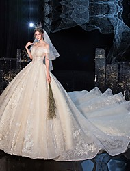 cheap -Ball Gown Wedding Dresses Off Shoulder Cathedral Train Tulle Lace Over Satin Sleeveless Formal Elegant with Crystals Embroidery 2020