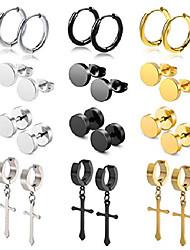 cheap -12pairs stud earrings cross dangle hinged hoop earrings set for men women stainless steel huggie earring set 18g