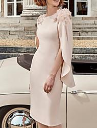 cheap -Sheath / Column Mother of the Bride Dress Elegant Jewel Neck Knee Length Stretch Satin Half Sleeve with Beading Appliques 2021