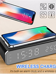 cheap -LED Electric Alarm Clock Digital Thermometer Clock HD Mirror Clock with Phone Wireless Charger and Date