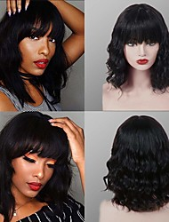 cheap -Remy Human Hair Wig Medium Length Body Wave With Bangs Natural Black Party Adorable Comfortable Capless Women's Natural Black 12 inch