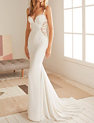 cheap -Mermaid / Trumpet Wedding Dresses V Neck Court Train Lace Satin Sleeveless Country with Appliques 2021