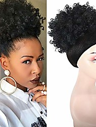 cheap -beauty clip in ponytail african american short afro kinky curly wrap synthetic drawstring puff hair piece (t1b/30)