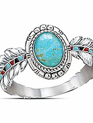 cheap -nmch women's vintage rings jewelry cubic zirconia turquoise feather rings cocktail party rings bridal wedding rings(silver,7)