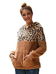 halpa -Naisten Pullover-huppari Leopardi Vapaa-aika Perus Hupparit paidat Valkoinen Musta Viini