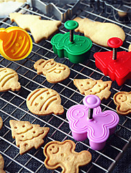cheap -4PCS/set Christmas Mold Cookie Cutter 3D Cookie Plunger Cutter DIY Baking Stamp Mould Die Fondant Cake Decorating Tools