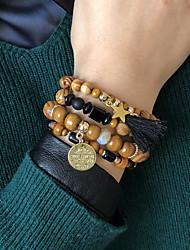 cheap -4pcs Women's Charm Bracelet Bead Bracelet Wrap Bracelet Layered Fashion Star Butterfly Luxury Dangling Tassel Trendy Boho Acrylic Bracelet Jewelry Brown For Prom Date Beach Festival / Wood