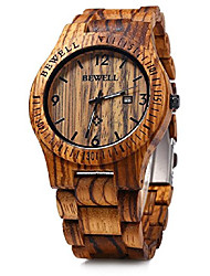 cheap -bewell mens wooden watch analog quartz movement date display lightweight wood wrist watch litbwat