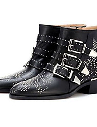 cheap -Women's Boots Wedge Heel Pointed Toe Casual Punk & Gothic Daily Rivet Solid Colored Leather Booties / Ankle Boots White / Black / Khaki