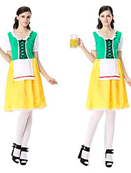 رخيصةأون -مهرجان أكتوبرفست Trachtenkleider نسائي فستان البافارية كوستيوم أصفر
