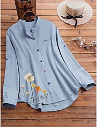 cheap -Women's Blouse Shirt Floral Pattern Flower Long Sleeve Round Neck Basic Tops Loose Blue White Light Green