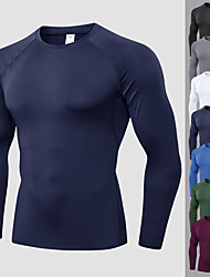cheap -YUERLIAN Men's Basic Compression Shirt Running Shirt Athletic Long Sleeve Summer Spandex Breathable Quick Dry Moisture Wicking Fitness Gym Workout Performance Running Active Training Sportswear Solid