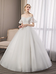 cheap -Ball Gown Wedding Dresses Off Shoulder Floor Length Tulle Short Sleeve Formal Elegant with Lace Insert 2020