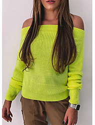 cheap -Women's Casual Knitted Solid Colored Pullover Acrylic Fibers Long Sleeve Loose Sweater Cardigans Off Shoulder Fall Winter Yellow Fuchsia Orange