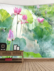 cheap -Beautiful Lotus in the Mist Digital Printed Tapestry Decor Wall Art Tablecloths Bedspread Picnic Blanket Beach Throw Tapestries Colorful Bedroom Hall Dorm Living Room Hanging
