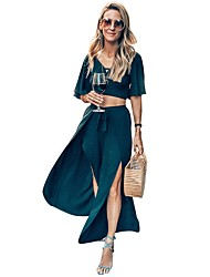 cheap -Two Piece Reformation Amante Minimalist Holiday Party Wear Dress V Neck Half Sleeve Ankle Length Spandex with Split 2020