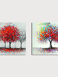 cheap -Hand-Painted Abstract Trees Paintings Canvas Art  Painting Abstract Acrylic Painting Modern Art Textured Art Set of 2 with Stretcher Ready to Hang With Stretched Frame