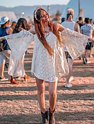 cheap -Women's A-Line Dress Short Mini Dress - Long Sleeve Solid Color Backless Patchwork Fall V Neck Boho Holiday Slim 2020 White S M L XL XXL