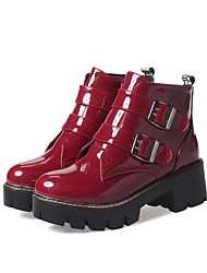 cheap -Women's Boots Block Heel Boots Demonia Boots Block Heel Round Toe Booties Ankle Boots Preppy Daily Walking Shoes PU Solid Colored Wine Black / Booties / Ankle Boots / Booties / Ankle Boots