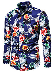 cheap -Men's optical illusion Shirt Long Sleeve Party Tops Beach Tropical Button Down Collar Blue
