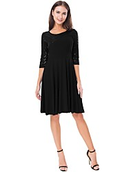 cheap -A-Line Elegant Glittering Homecoming Cocktail Party Dress Jewel Neck Half Sleeve Knee Length Chiffon with Sequin 2020