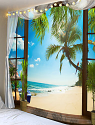 cheap -Window Landscape Wall Tapestry Art Decor Blanket Curtain Picnic Tablecloth Hanging Home Bedroom Living Room Dorm Decoration Polyester Sea Ocean Beach Palm