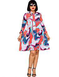 cheap -Women's A-Line Dress Knee Length Dress - Long Sleeve Print Print Spring Fall Casual Vacation Going out 2020 Rainbow S M L XL XXL XXXL