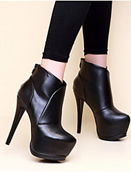 cheap -Women's Boots Stiletto Heel Round Toe Sexy Daily Solid Colored Leather Booties / Ankle Boots Black