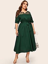 cheap -Women's Sheath Dress Maxi long Dress - 3/4 Length Sleeve Solid Color Mesh Patchwork Summer Casual Daily 2020 Dusty Rose Green L XL XXL XXXL XXXXL