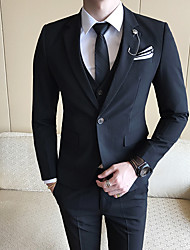 cheap -Tuxedos Standard Fit Notch Single Breasted One-button Polyester Solid Color