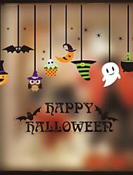 cheap -Halloween Party Toys Window Sticker Halloween Window Clings 5 pcs Cat Skull Skeleton Pumpkin Cartoon Bat Paper Kid's Adults Trick or Treat Halloween Party Favors Supplies