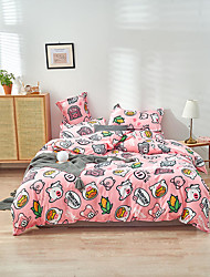 cheap -Duvet Cover Sets Cartoon pattern Printed 4 Piece Bedding Set With Pillowcase Bed Linen Sheet Single Double Queen King Size Quilt Covers Bedclothes For Kids Room