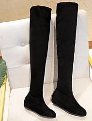 Недорогие -Жен. Ботинки На плоской подошве Круглый носок На каждый день Классический Повседневные Однотонный Замша Сапоги выше колена Для прогулок Черный