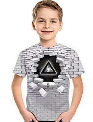 cheap -Kids Toddler Boys' T shirt Tee Short Sleeve Geometric 3D Print Children Summer Tops Active Basic Light gray