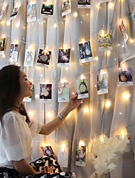 cheap -2pcs 3m 20led Photo Hanging Clips String Light Photo Collage Display Led Twinkle Light with Clip Home Bedroom Wall Decoration for Picture Card