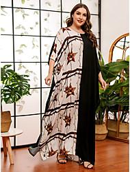 povoljno -Žene Shift haljina Maks haljina - 3/4 rukava Geometrijski oblici Print Ljeto Jesen Ležerne prilike Elegantno Dnevno Vikend Rukav-krilo 2020 Crn One-Size