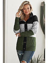 cheap -Women's Stylish Stripe Knitted Striped Color Block Cardigan Long Sleeve Sweater Cardigans Hooded Fall Winter Black Green Gray