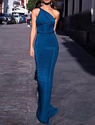 cheap -Mermaid / Trumpet Minimalist Sexy Engagement Formal Evening Dress One Shoulder Sleeveless Sweep / Brush Train Spandex with Sleek 2020