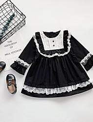 povoljno -Djeca Djevojčice Osnovni Crno-bijela Color block Kolaž Dugih rukava Iznad koljena Haljina Crn